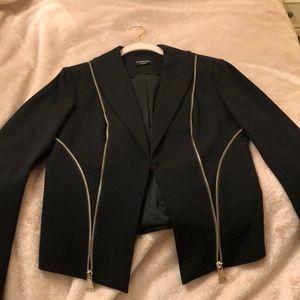 Black Bebe Blazer with zipper details - work once